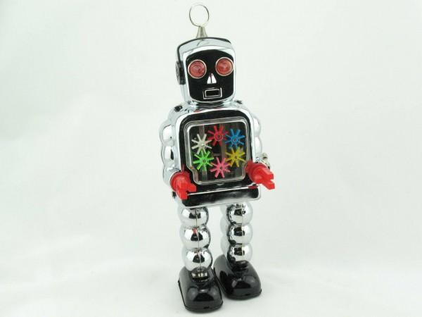 Blechspielzeug - Roboter Zahnrad, High-Wheel Robot, chrom