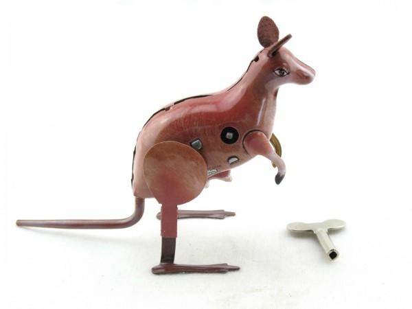 Blechspielzeug - Hüpfendes Känguru mit Jungem