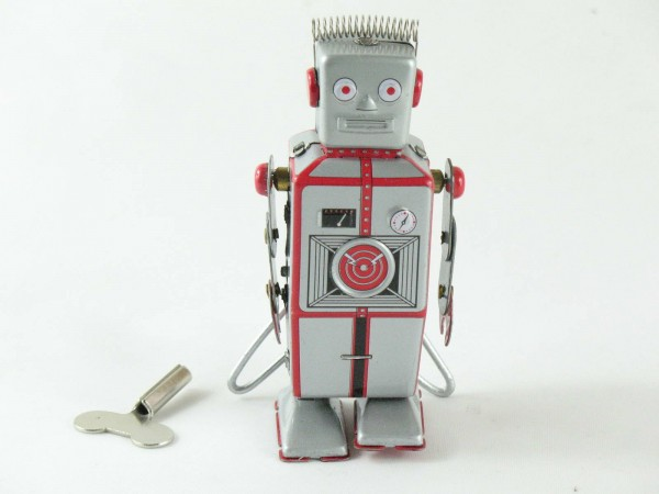 Blechspielzeug - Roboter silber mit Antenne