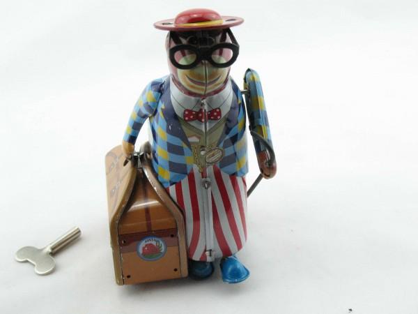 Blechspielzeug - Affe mit Koffer und Hut