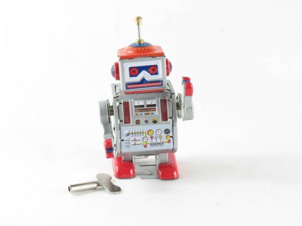 Blechspielzeug - Roboter, 10 cm silber/rot