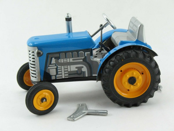 Traktor Zetor blau mit METALLFELGEN, Kovap-Neuheit 2019 – Blechspielzeug
