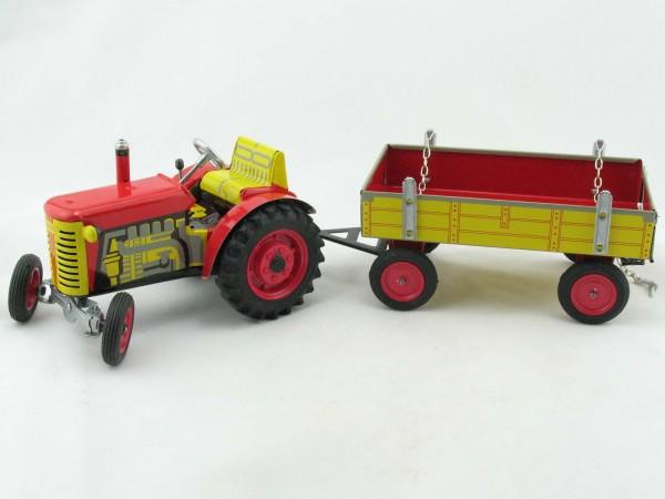 Traktor ZETOR mit Anhänger, rot von KOVAP - Blechspielzeug