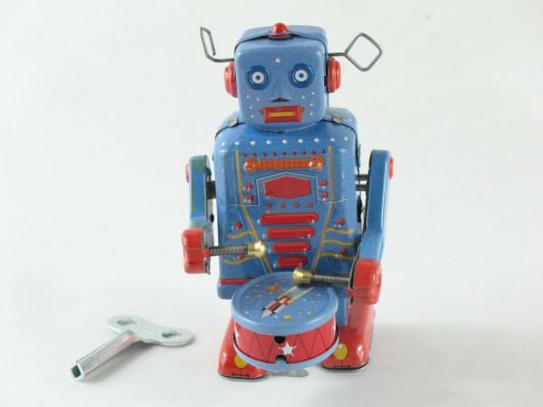 Blechspielzeug - Roboter trommelnd in blau-rot