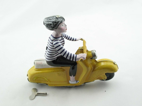 Blechspielzeug - Motorrad Scooter Girl auf Motorroller, gelb