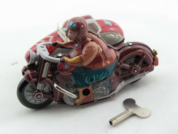 Blechspielzeug - Motorrad mit Beiwagen, rot