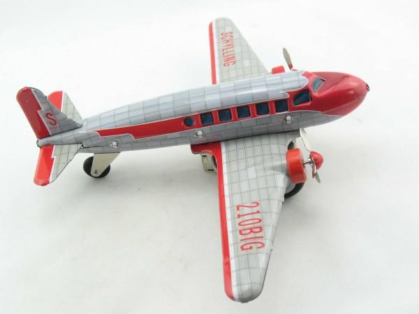 Blechspielzeug - Flugzeug DC3 mit Friktion silber/rot