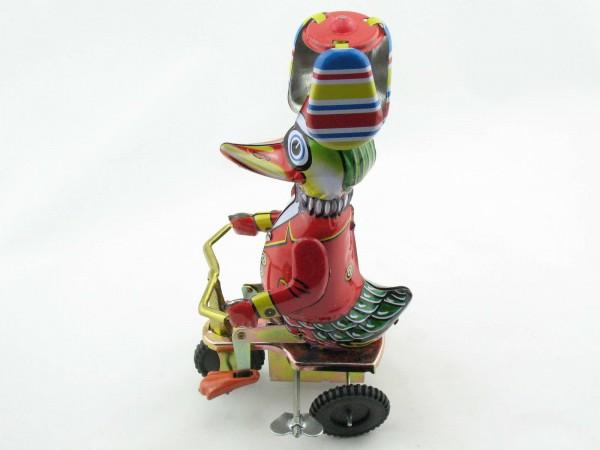 Blechspielzeug - Propeller-Ente auf dem Fahrrad