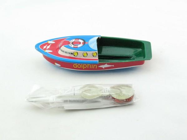 Blechspielzeug - Kerzenboot, Pop Pop Boot Litho in Schachtel, Dolphin