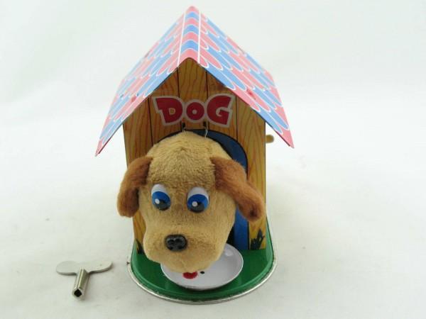 Blechspielzeug - Blechhundehaus mit bellendem Hund