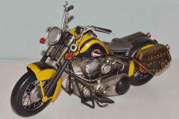 Blechmodell Motorrad Harley Gelb Schwarz Motorrader Deko