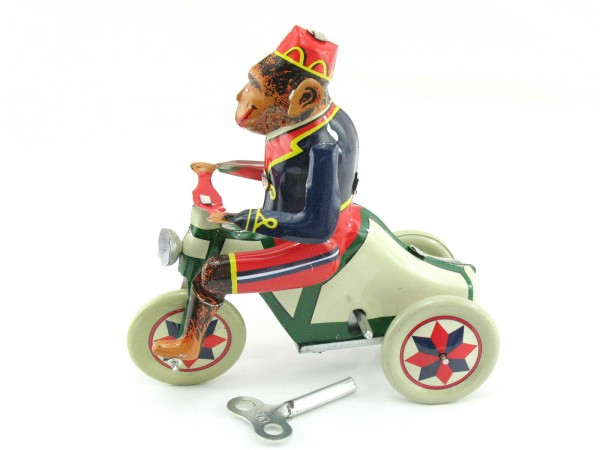 Blechspielzeug - Affe auf Fahrrad, Paya Nachbau