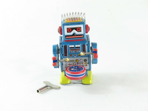 Blechspielzeug - Roboter trommelnd, 10 cm blau mit Trommel