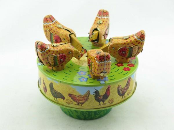 Blechspielzeug - Hühner Karussell, pickende Hühner