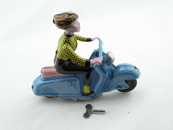 Blechspielzeug - Motorrad Scooter Girl auf Motorroller, blau