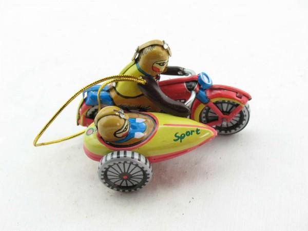 Blechspielzeug - Deko-Motorrad mit Beiwagen