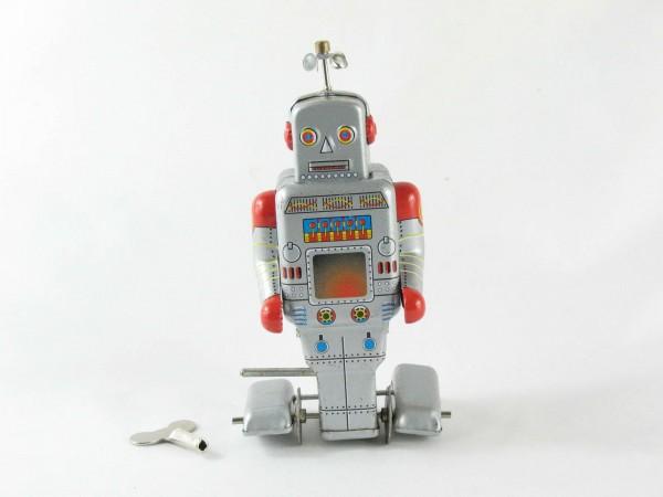Blechspielzeug - Roboter auf Raupenfüßen, silber/rot