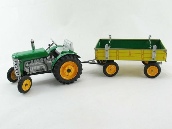 Traktor Zetor mit Anhänger, grün, METALLFELGEN, Kovap-Neuheit 2019
