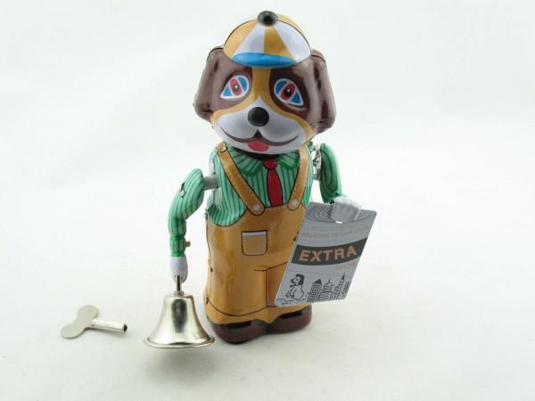 Blechspielzeug - Zeitungshund mit Glocke