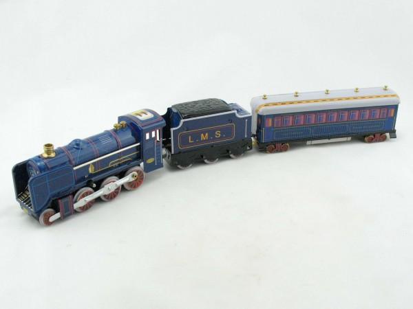 Blechspielzeug - Dampflok mit Tender und Personenwagen blau