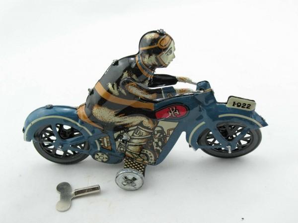 Blechspielzeug - Motorrad Fahrer blau