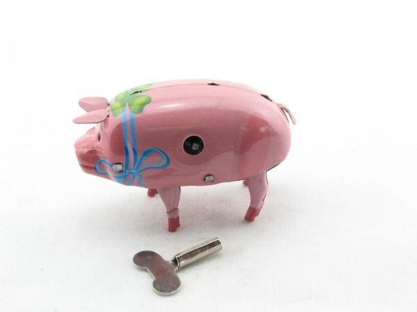 Blechspielzeug - Schwein Polly mit blauer Schleife
