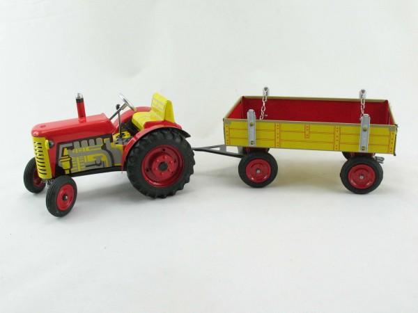 Traktor Zetor mit Anhänger, rot, METALLFELGEN, Kovap-Neuheit 2019